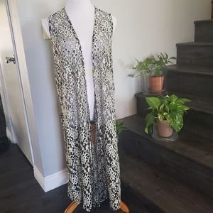 LuLaRoe off-white and black Lace Joy Duster vest